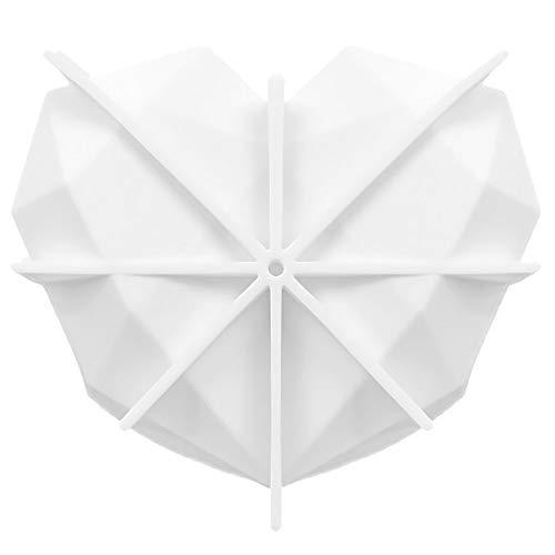 MOTZU Mousse-Kuchenformen, 3D-Diamant-Herzform, Silikon, Dessert, Käsekuchen, Backformen für DIY Chiffon, Gebäck, Dessert, Süßigkeiten, Backform, Brownie, Gelee, Fondant, Hochzeit