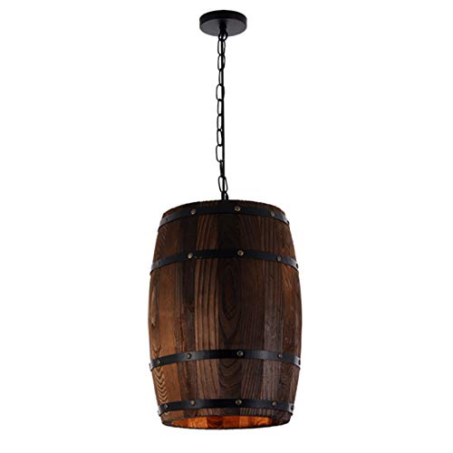 Yingm Excelente Textura Arte de Madera de Madera Retro Arte de Madera Decoración de Barril de Vino Araña Creativa de Madera Maciza Araña de Casa Exquisita (Color : Dark Brown, Size : Warm Light)