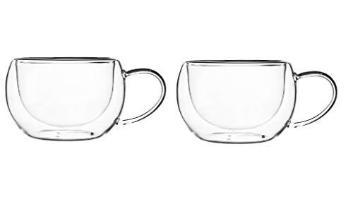 KADAX doppelwandige Glas Tasse, 280 ml, Kaffeeglas, Thermoglas für Tee, Kaffee, Cappuccino, Wasser, Espresso, EIS, Glas mit Griff, Kaffeetasse, Teeglas mit Schwebeeffekt (2)
