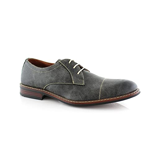 Ferro Aldo Jason MFA19275PL Men's Oxford Dress Shoes with Classic Round Toe Stitch Detailing for Work or Casual Wear Grey 9.5