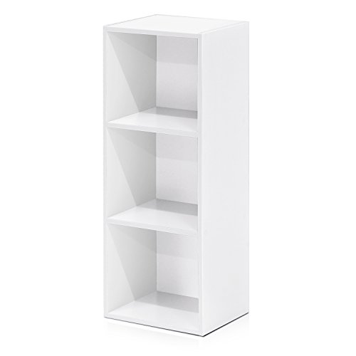 Furinno 3-Tier Open Shelf Bookcase, White