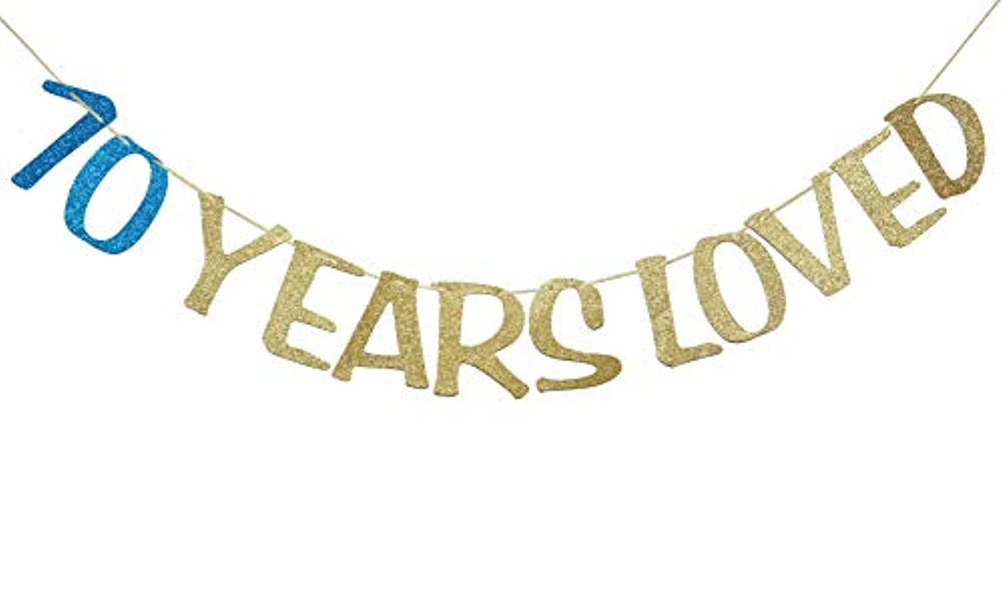 70 Years Loved Banner Sign Gold Glitter for 60th Birthday Party Decorations Anniversary Decor Photo Booth Props (70th, Navy Blue)