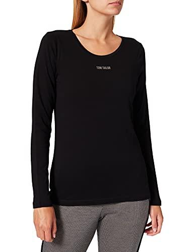 TOM TAILOR Damen Basic Logoprint T-Shirt, 14482 - Deep Black, XS