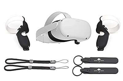 Flagship Oculus Quest 2 All-in-One Virtual Reality 64GB Gaming Headset w/ Fit Pack Bundle, High Resolution, PC VR Compatible, W/GM Controller Protection Controller Grip Accessories