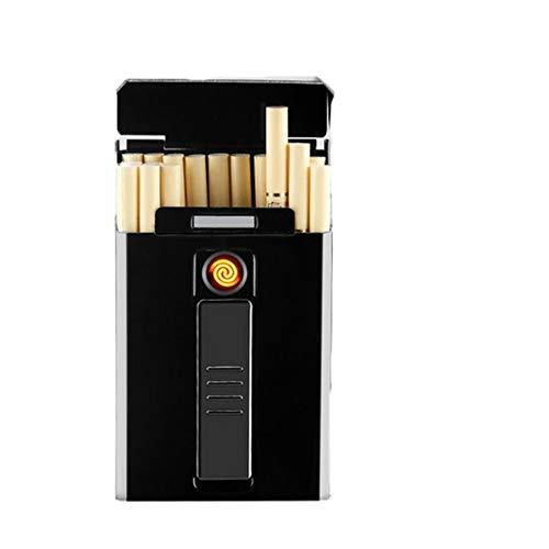Zigarettenetui HAOAYOU Tragbares LED-Display USB-Aufladung Winddichtes flammenloses elektronisches Feuerzeug für Frauen 90 * 55 * 19 mm Schwarz