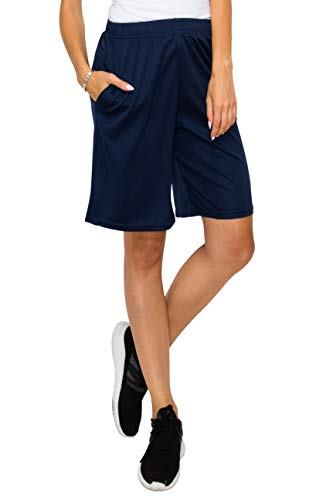 EttelLut Loose Athletic Basketball Boyfriend with Drawstring for Women Knee Shorts Navy S