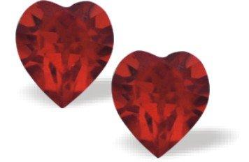 Swarovski Kristall Herz Ohrstecker in knackigem Warm Tiefen rot mit Sterling Silber Ohr Kabel 9mm