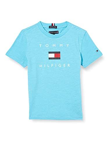 Tommy Hilfiger Hilfiger Logo tee S/S Camisa, Seashore Blue, 3 para Niños
