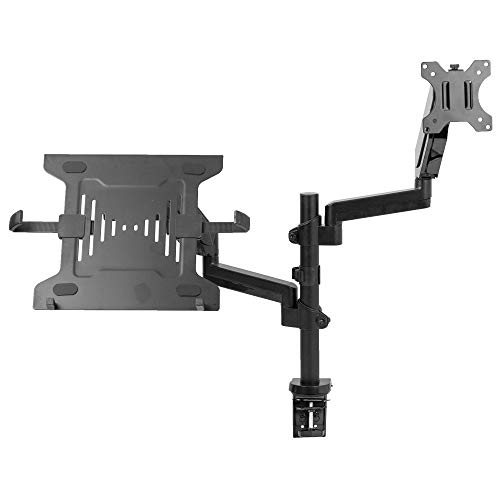 VIVO Dual Arm Monitor + Laptop Mount for 17 to 32 inch Screens and 10 to 15.6 inch Laptops/Pneumatic Height Adjustment, Full Articulating Tilt, Swivel/Heavy Duty VESA Stand (STAND-V102L)