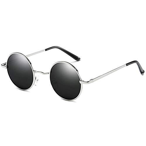 ZHHk Gafas de Sol Gafas De Sol Redondas De Protección UV De Metal Polarizadas De Forma Clásica, Lentes Negras/Plateadas/Pistolas, Hombres Y Mujeres con Las Mismas Gafas De Sol (Color : Silver)