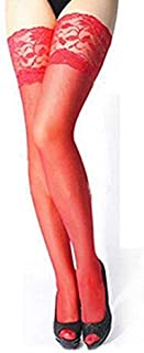 Socks 3 Pairs Sexy Womens Thin Sheer Lace Stocking Top Stay Up Thigh High Hold-ups Stockings Pantyhose(Red) 2020 (Color : Red, Size : One Size)