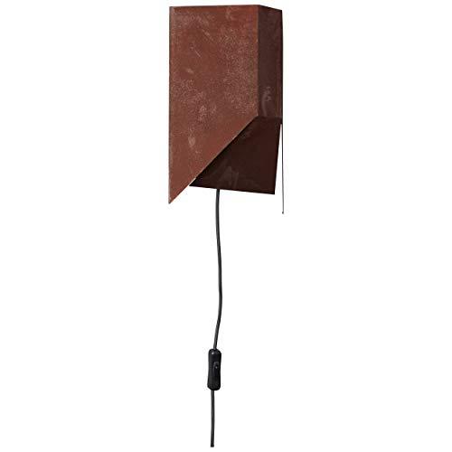 Brilliant Bat wandlamp met snoer en schakelaar roestkleurige industriële look, 1 x E27 geschikt voor normale lampen tot max. 60 W.
