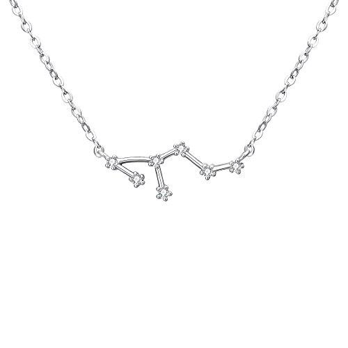 Clearine Halskette Sternzeichen 925 Sterling Silber Cubic Zirconia Sternbilder 12 Horoskop ''Löwe'' Astrologie Anhänger Kette Klar für Damen Mädschen