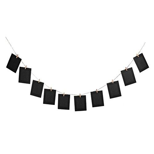 LUOEM 10Cadres Photo Cadres Photo à Suspendre 15,2cm avec Pinces en Bois et de Corde de Chanvre Noir