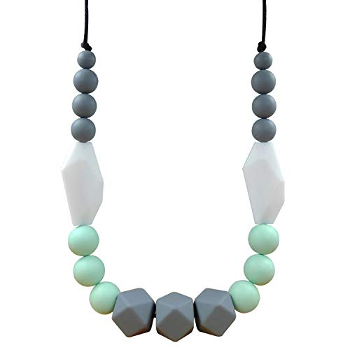 Teething Necklace for Mom to Wear and Unisex Teething Necklace ,100% Food Grade Silicone Teething Beads, Nursing Necklace, Design in Elegant Colors with Exquisite Perfect for Giving As a Present