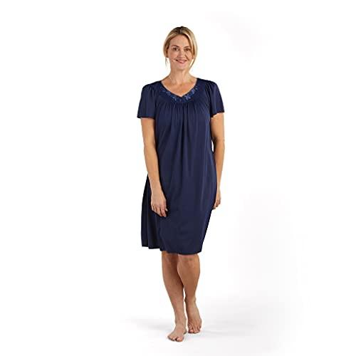 Miss Elaine Women's Plus Size Tricot Short Nightgown (2X, Navy)