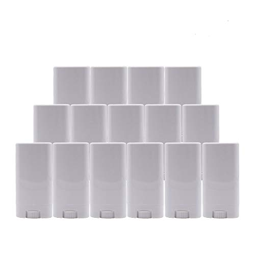 Healthcom 15 Pack 15ml White Plastic Deodorant Containers 0.5 oz New Empty Oval Lip Balm Tubes Twist-Up Deodorant Containers for Lipstick Crayon Chapstick DIY Make Your Own Deodorant Moisturizer Lotion Bar