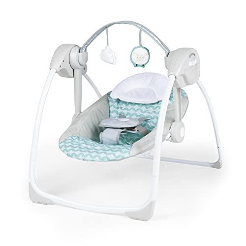 Ingenuity Ity Altalena compatta Swingity Swing, piegabile, arco giochi amovibile con 2 giocattoli, 6 velocita' di dondolio, cintura regolabile a 5 punti di aggancio, Goji