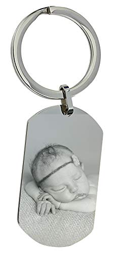 UHRENWELT Schlüsselanhänger Edelstahl mit eigener Fotogravur/Bildgravur/Text auf Schlüsselanhängeranhänger