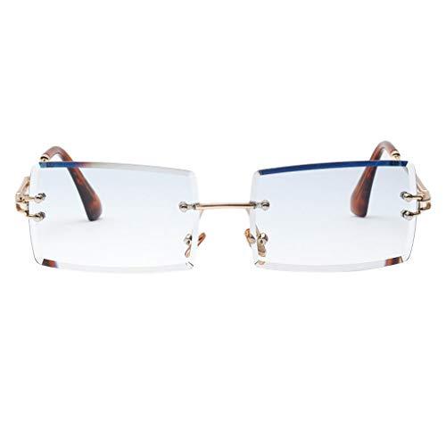 oshhni Gafas de Sol Sin Montura para Mujer Vintage Gafas de Lente Teñidas de Fiesta de Diseñador UV 400 - Azul