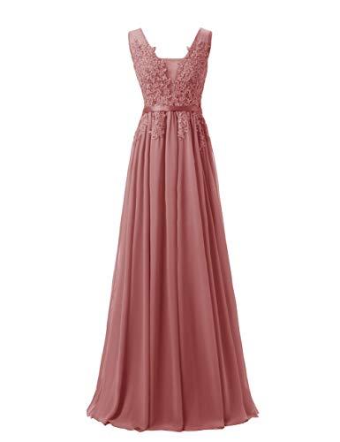 LuckyShe Damen Alinie Chiffon Abendkleider Elegant für Hochzeit Lang mit Spitze Ärmellos Altrosa Größe 34
