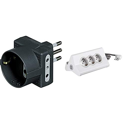 BTicino S3610G Adattatore Tris con 1 Presa Tedesca 2 Prese, 10A, Colore Antracite, Nero + S3713DBU Multipresa hi-tech con 3 prese standard 10A/16A tipo P30 250 V, 2 prese USB, Cavo 2 m, Bianco