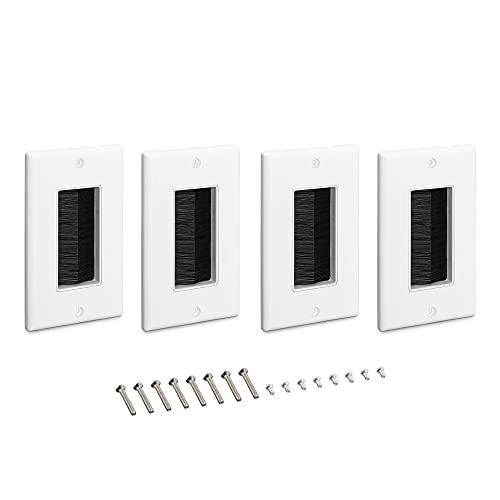 kwmobile 4X Placa de Pared con Cepillo - Cubierta para tapar Cables Salidas y cableado - Set de pasacables para Enchufe Americano - Blanco y Negro