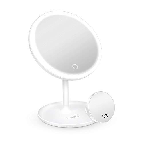Deweisn - Espejo de maquillaje con luz, LED espejo de mesa, espejo cosmético iluminado, interruptor táctil y carga USB portátil, rotación 90 °, espejo para el maquillaje con soporte