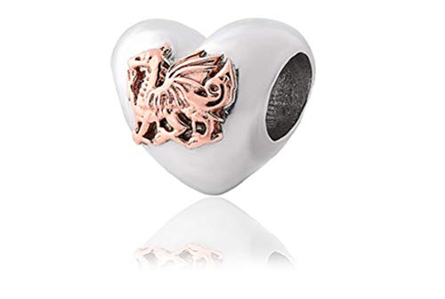 Clogau Beads Womens Silver 9ct Rose Gold Welsh Dragon Heart Milestones Charm