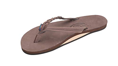 Rainbow Sandals Women's Premier Leather Flirty Braidy Sandal, Expresso, Size 11