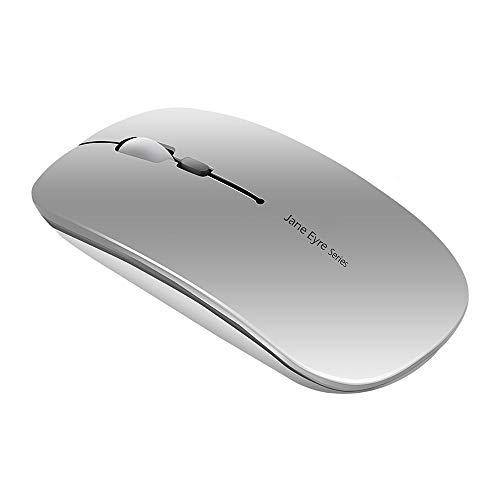 Uiosmuph Q5 Mouse Wireless Ricaricabile, Senza Fili Silenzioso 2,4G 1600DPI Mouse Portatile da Viaggio Ottico con Ricevitore USB per Windows 10 8 7 XP Vista PC Mac (Argento)