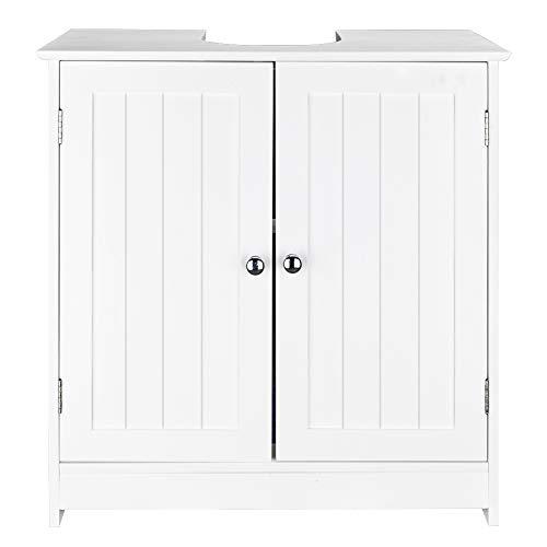 TITA-DONG Pedestal Sink Storage Cabinet,Bathroom Under Sink Storage Cabinet with Double-door/Adjustable shelf,White Wooden Freestanding Storage Cabinet - Bathroom Organizer Space Saver