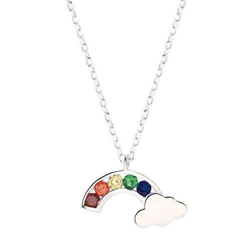 iszie jewellery 925 sterling silver sweet little rainbow pendent girl ladies fashion necklace