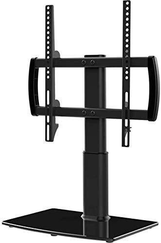 Soporte de TV con Base Universal para Mesa con Montaje en Pared para 40 a 80 Pulgadas, 5 Niveles, Altura Ajustable, Base de Vidrio Templado Resistente, con Capacidad para Pantallas de 66 kg