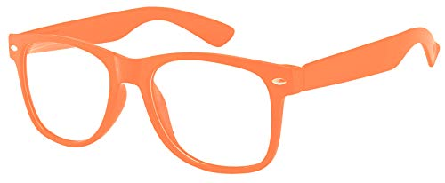 Classic Vintage Sunglasses Clear Lens Orange Frame Retro