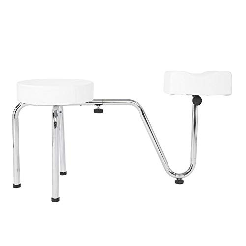 Adjustable Pedicure Stool, Tattoo Stool Pedicure Chair Beauty Wheels Rolling Stool with PU Leather Cushions and Metal Base, Suitable for Home and Salon Use(White)