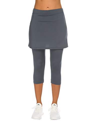Balancora Falda de deporte para mujer, falda de tenis, hockey, ajustada, 3/4, pantalones de yoga con bolsillos y conexión para auriculares gris XXL