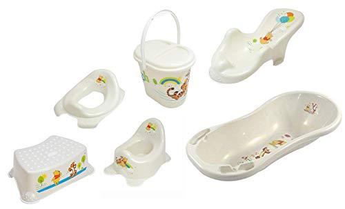 Lot de 6 pièces Perl Premium Disney Winnie l'ourson Blanc perle, Baignoire XXL 100 cm + siège de bain + pot + plateau WC + tabouret + seau à couches