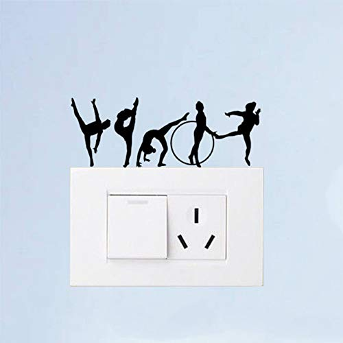 WALSTICKEL Wandtattoos Gymnastic Girl Fashion Home Decor Wandtattoo Lichtschalter Aufkleber Vinyl, Schwarz