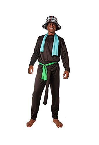 DM zwart kostuum van de sociale netten. Inhoud: T-shirt, broek, sjaal, riem, hoed en enkelbandjes.