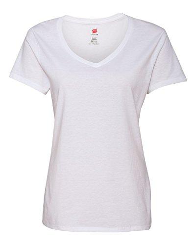 Hanes Ladies Ringspun Cotton Nano-T V-Neck T-Shirt, XS, White