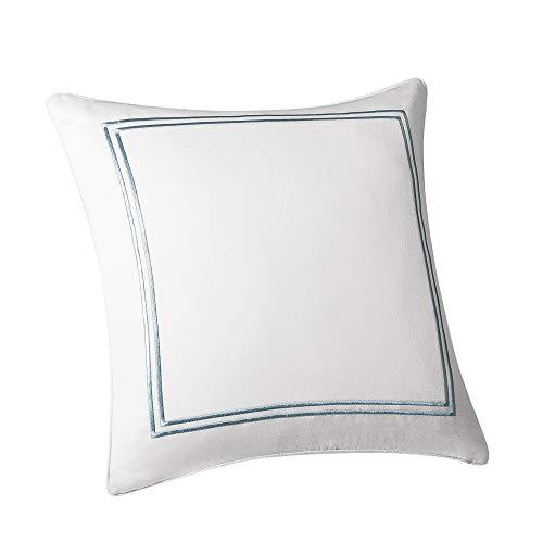 Harbor House Modern Design Decorative Pillow Hypoallergenic Sofa Cushion Lumbar, Back Support, 16u0022x16u0022, Chelse, Satin Blue Ivory Square