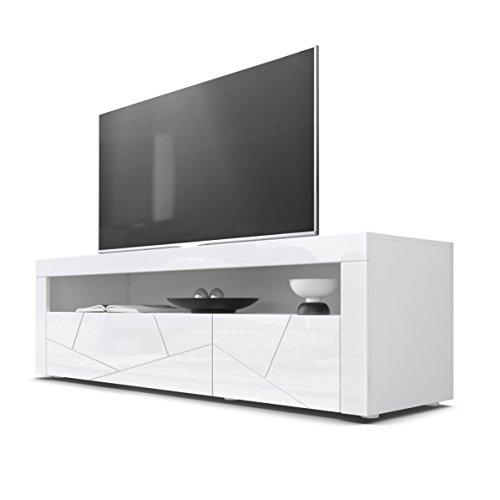 TV Board Lowboard Valencia, Korpus in Weiß/Fronten in Weiß Hochglanz Element 3D Struktur und Blenden in Weiß Hochglanz