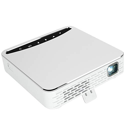 Lemorele Mini Proiettore DLP Video HD Proiettore Tascabile WiFi Senza Fili per Home Theatre Multimediali, Proiettore Video Ricaricabile Display senza fili per iPhone Supporto Telefonico Android HDMI USB TF Card