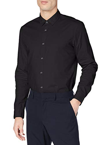 ESPRIT Herren 998Ee2F800 Freizeithemd, Schwarz (Black 2 002), Medium (Herstellergröße: M)