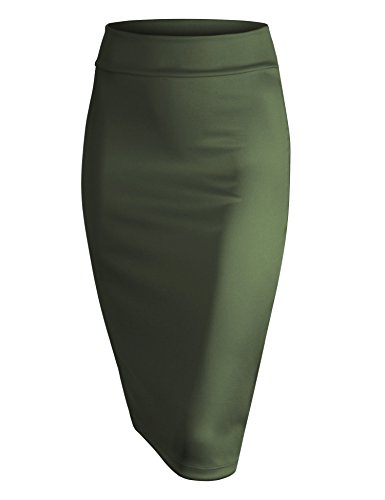 Made By Johnny WB700 Womens Scuba Midi Skirt L Olive
