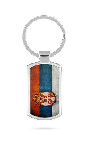 Schlüsselanhänger mit Gravur Wunschtext Name Serbien Fahne 3