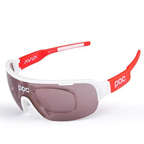 OPEL-R Gafas De Ciclismo Polarizadas para Exteriores Gafas De Sol Deportivas Anti-UV para Bicicleta, Gafas De MTB De Moda Casual, 5 Lentes Intercambiables (WHITEBLUE)
