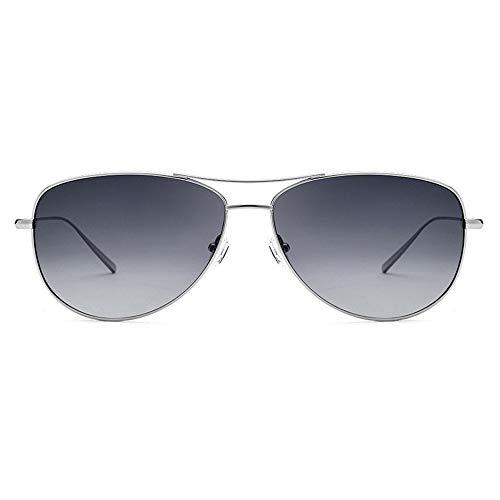 Yangmanini Gafas De Sol De Titanio Puras Gafas De Sol De Titanio Puras Gafas De Moda Polarizadas Hembra Gris Lente Protección UV400