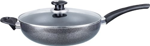Brentwood Appliances Nonstick Aluminum Wok with Lid (12-Inch), Normal, Black